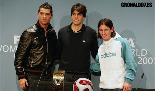 Cristiano Ronaldo, Kaka y Messi en el Fifa World Player